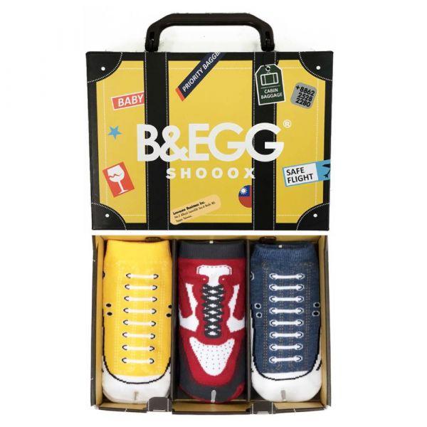 B&EGG - SHOOX鞋型襪 (童襪3入禮盒組-黃) B&EGG, 台灣製造, MIT, 流行配件, 襪子, allstar, nike, VD, 交換禮物, 紅白拖, 聖誕節, 藍白拖