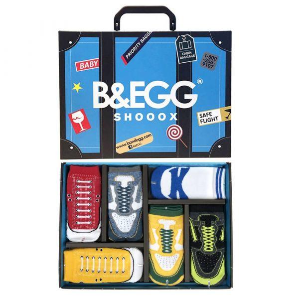 B&EGG - SHOOX鞋型襪 (童襪6入禮盒組-藍) B&EGG, 台灣製造, MIT, 流行配件, 襪子, allstar, nike, VD, 交換禮物, 紅白拖, 聖誕節, 藍白拖