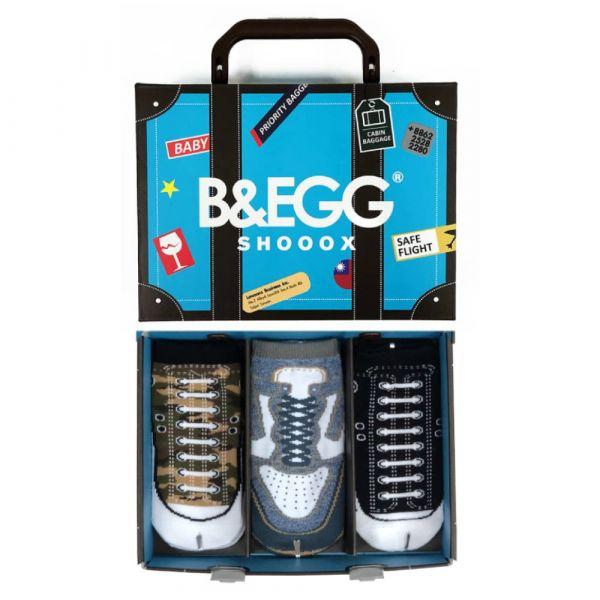 B&EGG - SHOOX鞋型襪 (童襪3入禮盒組-藍) B&EGG, 台灣製造, MIT, 流行配件, 襪子, allstar, nike, VD, 交換禮物, 紅白拖, 聖誕節, 藍白拖