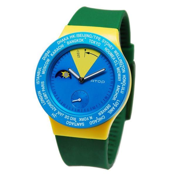 國旗錶-巴西 世界時區機芯,日月盤,專屬個人風格,World Time專利,Red dot,設計優良產品獎,台灣精品獎,德國漢諾威iF工業設計獎