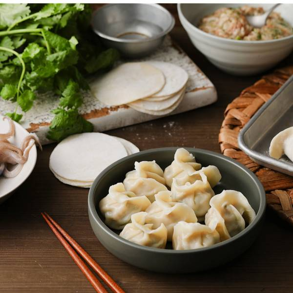 [NEW]花枝芫荽鮮肉餃子 花枝,溫體豬肉,手工水餃, 香菜, 北斗香菜
