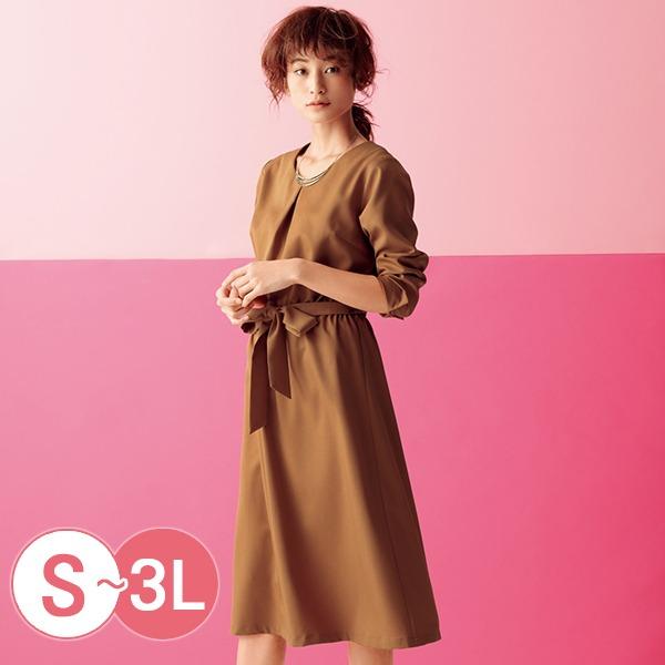 日本代購-cecile折縫鬆緊腰V領綁帶洋裝S-LL(共二色) 日本代購,CECILE,洋裝