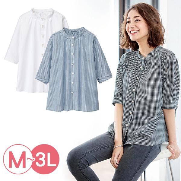 日本代購-portcros珍珠風鈕釦褶皺設計襯衫(共三色/3L) 日本代購,portcros,襯衫