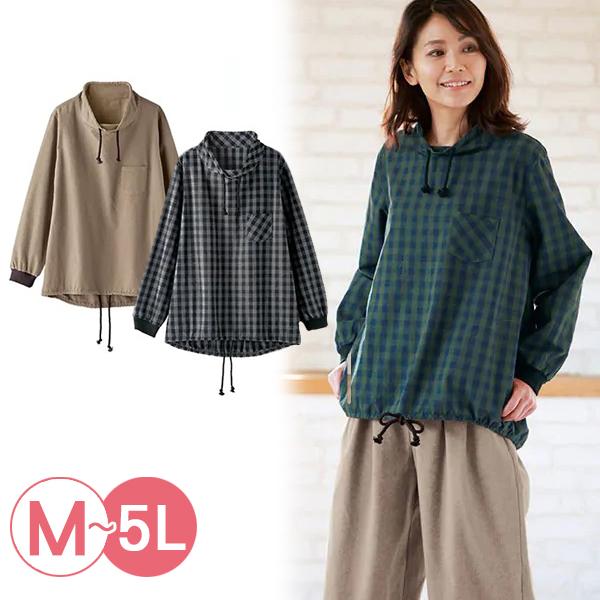 日本代購-純棉造型抽繩羅紋袖口上衣(共三色/3L-5L) 日本代購,純棉,格紋