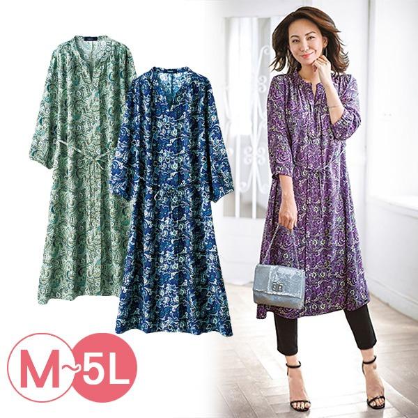 日本代購-portcros七分袖印花長版襯衫洋裝3L-5L(共三色) 日本代購,portcros,洋裝