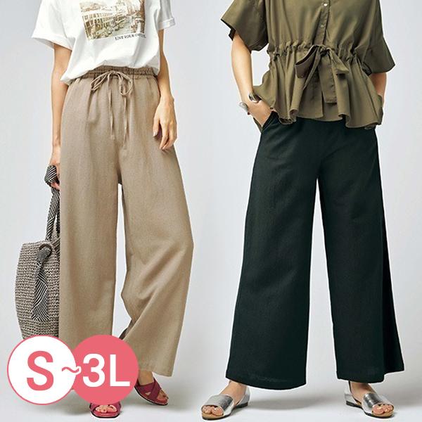 日本代購-休閒涼爽鬆緊腰棉麻寬褲(共三色/3L) 日本代購,棉麻,寬褲