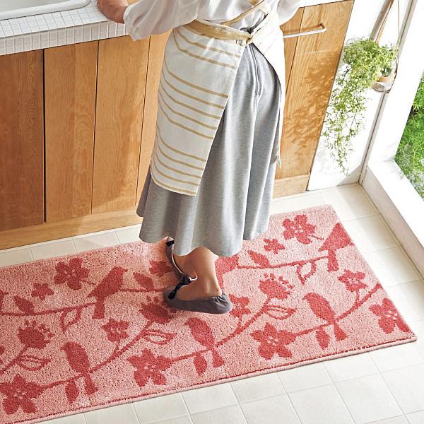 日本代購-時尚花鳥防污抗菌地墊(共三色) 日本代購,東區時尚,腳踏墊