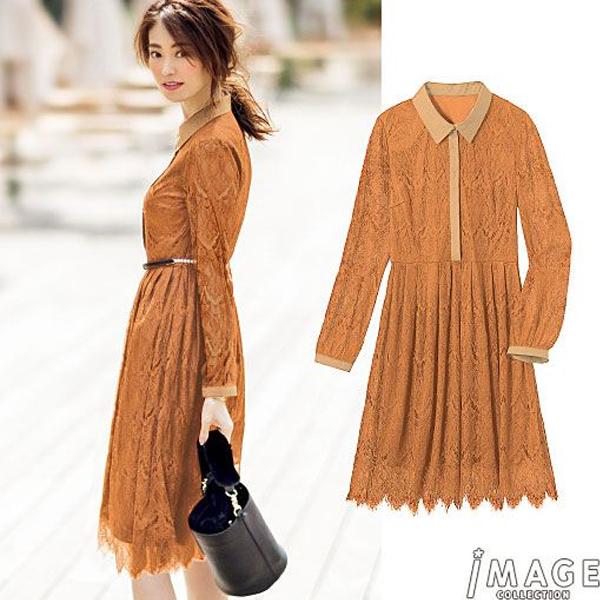 日本代購-特價浪漫奢華優雅襯衫領全蕾絲洋裝S-LL(售價已折) 日本空運,東區時尚,洋裝