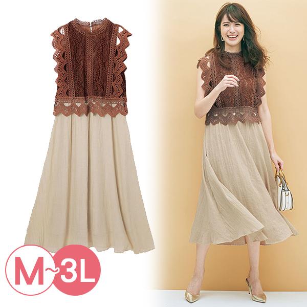 日本代購-portcros高雅蕾絲上衣對接連身洋裝(3L) 日本代購,portcros,蕾絲