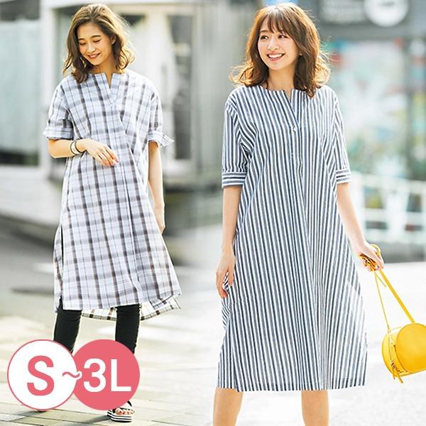 日本代購-portcros半開襟折縫無領長版襯衫洋裝(共三色/3L) 日本代購,portcros,長版