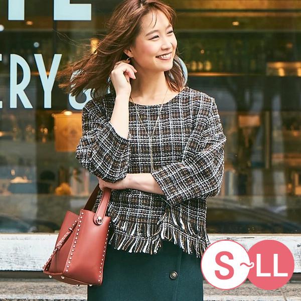 日本代購-流蘇下擺寬鬆感花呢上衣(共二色/S-LL) 日本代購,流蘇