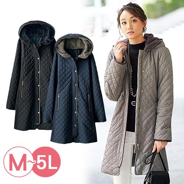 日本代購-菱格紋滾邊連帽鋪棉外套(共三色/3L-5L) 日本代購,連帽,鋪棉