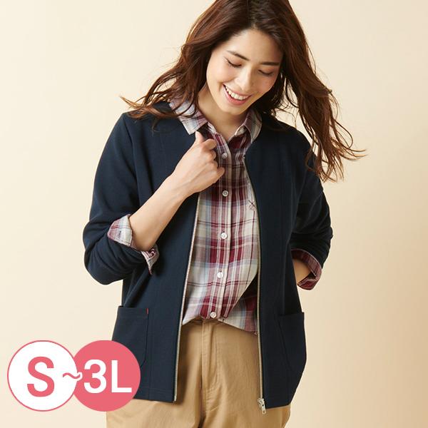 日本代購-cecile配色條紋無領拉鏈外套(共四色/3L) 日本代購,CECILE,條紋