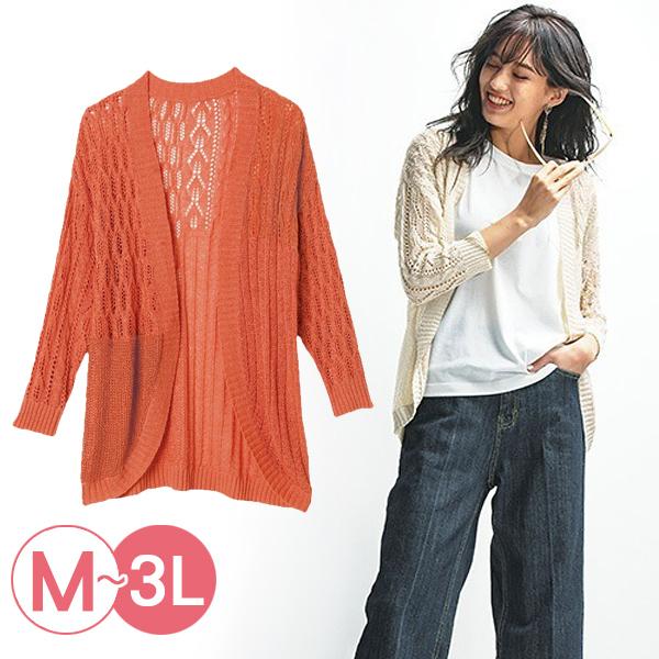 日本代購-portcros圖案變化鏤空開襟針織衫(共二色/3L) 日本代購,portcros,針織