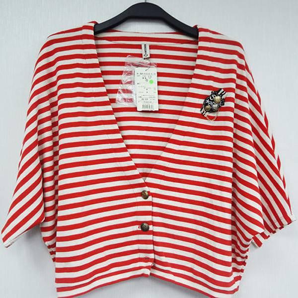 日本VIS 現貨-橘色條紋綿織外套(附胸章)-橘色/M 日本,VIS,上衣