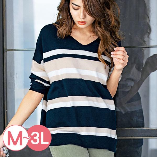日本代購-RyuRyu mall親膚V領配色條紋針織衫(共二色/M-LL) 日本代購,RyuRyu mall,條紋