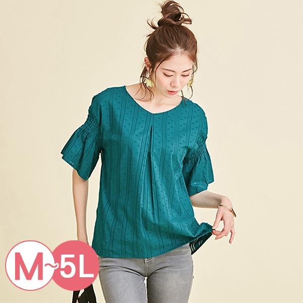 日本代購-portcros條紋提花皺褶寬袖上衣3L-5L(共四色) 日本代購,portcros,寬袖