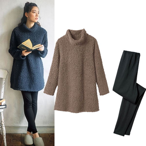 日本代購-特價portcros搖粒絨長版衫+內搭褲二件組M-LL(售價已折) 日本代購,portcros,二件組