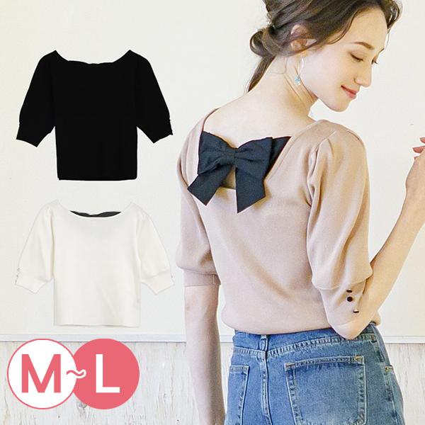 日本代購-背部蝴蝶結泡泡袖針織上衣(共三色/M-L) 日本代購,蝴蝶結,針織