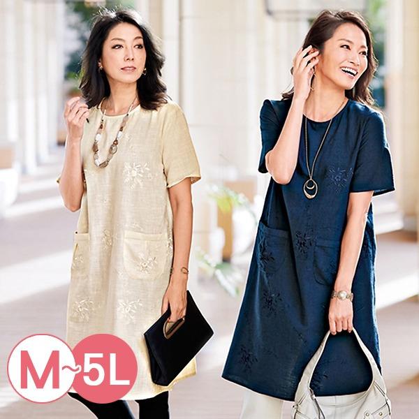 日本代購-portcros雅緻花卉刺繡棉質長版上衣3L-5L(共三色) 日本代購,portcros,刺繡