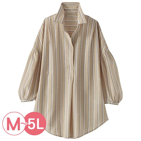 日本代購-portcros簡雅條紋七分袖半開襟襯衫(共三色/3L-5L) 日本代購,portcros,條紋