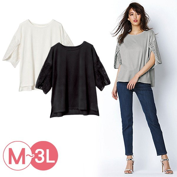 日本代購-portcros開衩造型蕾絲袖上衣3L(共三色) 日本代購,portcros,蕾絲