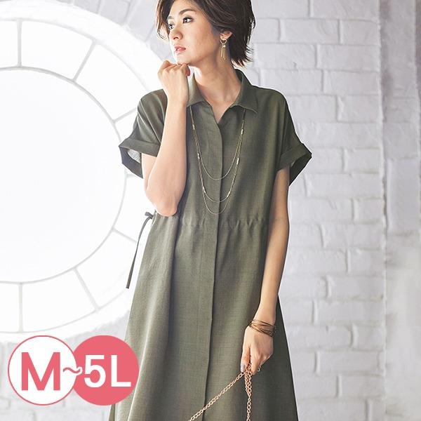 日本代購-portcros涼爽抽繩束腰長版襯衫洋裝M-LL(共五色) 日本代購,portcros,長版