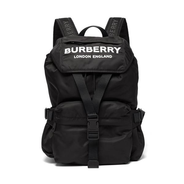 日本代購-Burberry 印花logo黑色尼龍後背包 agnes b.,日本代購,後背包