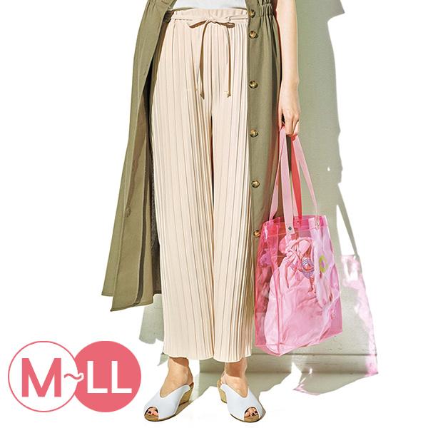 日本代購-時尚金屬配件繫帶百褶寬褲(共三色/M-LL) 日本代購,百褶,寬褲