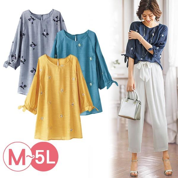 日本代購-portcros袖口綁結花朵刺繡上衣3L-5L(共四色) 日本代購,portcros,刺繡