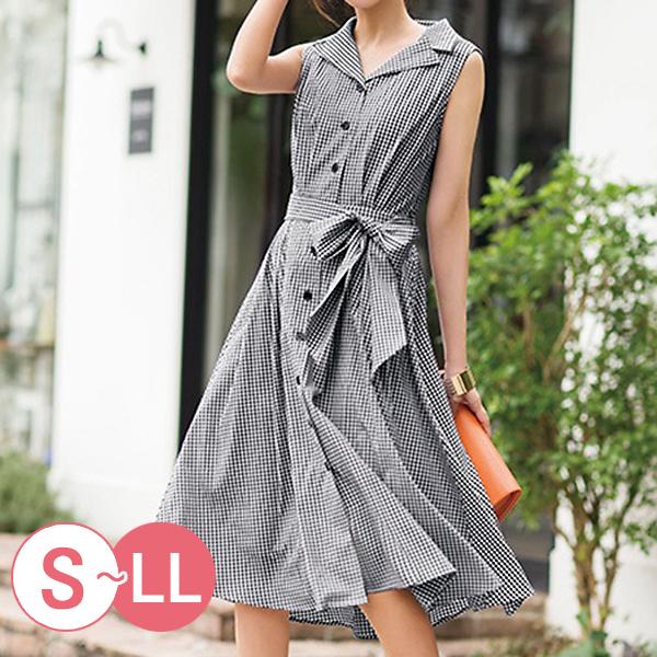 日本代購-格紋綁結襯衫式無袖洋裝(S-LL) 日本代購,無袖,格紋