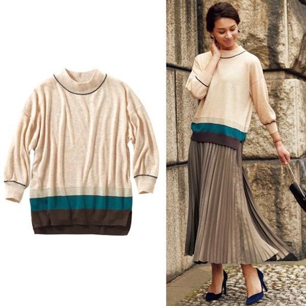 日本代購-特價混金蔥滾色短高領針織衫3L(售價已折) 日本空運,東區時尚,針織衫