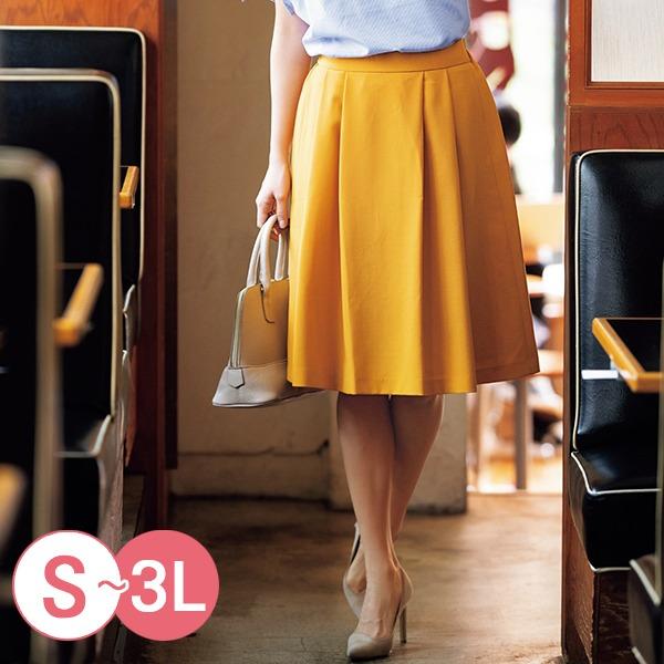 日本代購-cecile打褶設計素面及膝裙3L(共四色) 日本代購,CECILE,及膝裙