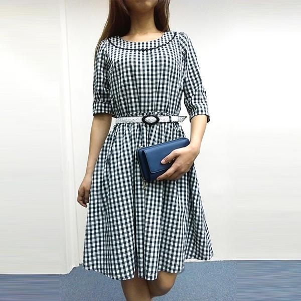 日本ANNA LUNA 現貨-經典格紋附腰帶小洋裝 日本,ANNA LUNA,連身裙