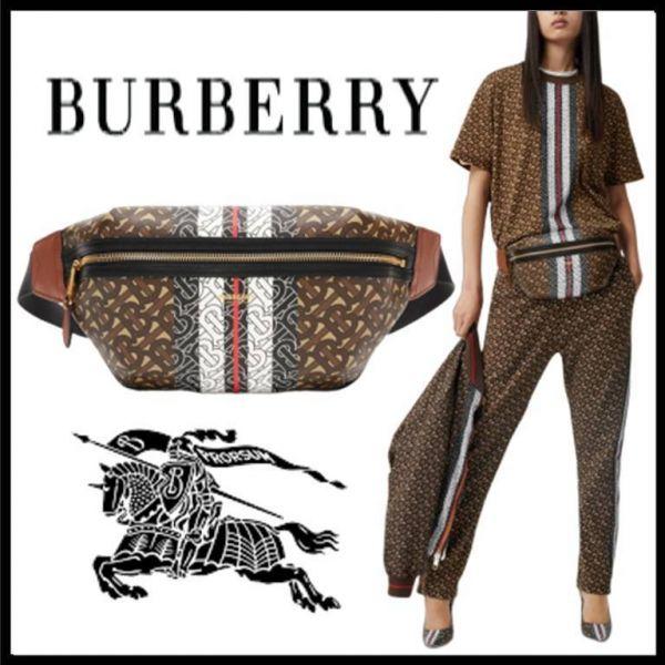 超值BURBERRY 中型花押字條紋環保帆布腰包(售價已折) agnes b.,腰包