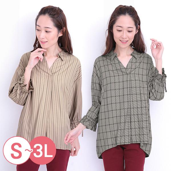 日本代購-cecile前短後長V領糖果袖蜜桃絨發熱襯衫(共三色/3L) 日本代購,CECILE,發熱衣
