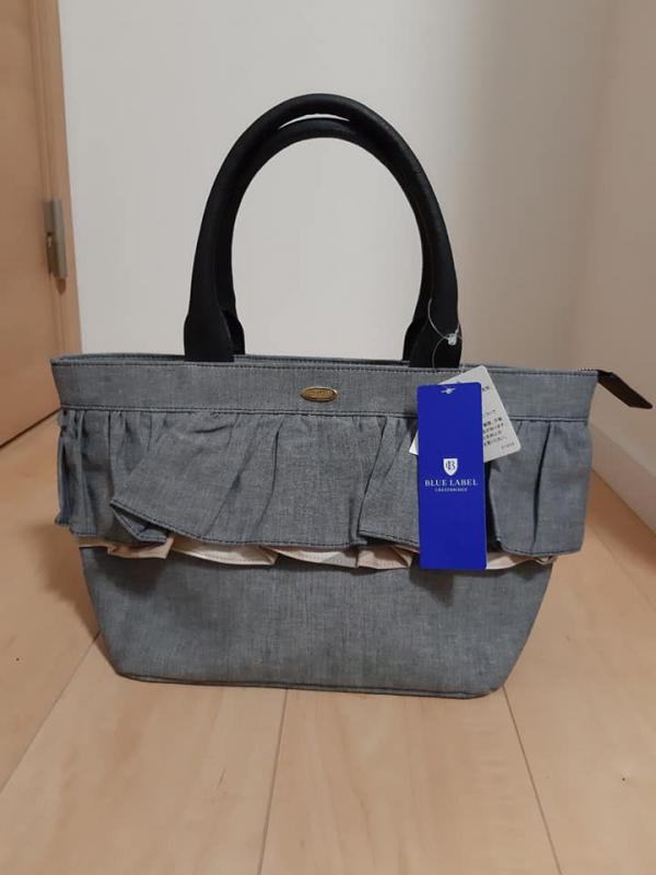 日本代購-特價日本製BLUE LABEL牛仔布荷葉皺褶手提/肩背2way包包(售價已折) agnes b.,東區時尚,手提包