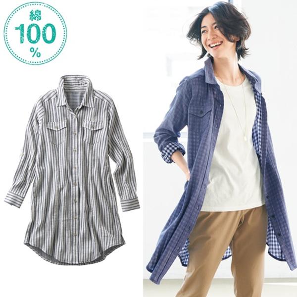 日本代購-特價二重紗長版襯衫M-LL(售價已折) 日本空運,東區時尚,襯衫
