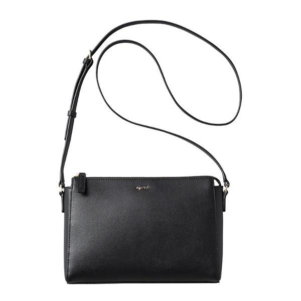 日本代購-特價agnes b. 牛皮金屬LOGO斜背包 (售價已折) agnes b.,東區時尚,斜背包