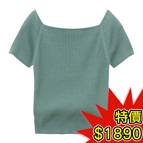 日本代購-COCO DEAL百搭素色方領羅紋針織上衣(共三色) 日本空運,東區時尚,針織