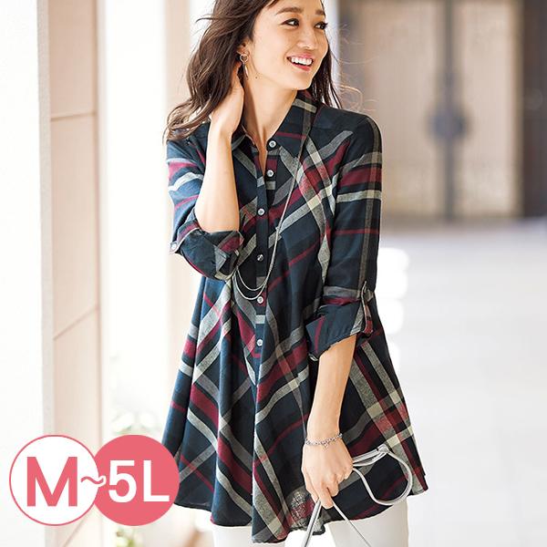 日本代購-portcros垂褶設計格紋薄法蘭絨長版襯衫(共四色/M-LL) 日本代購,portcros,襯衫