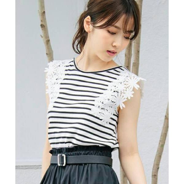 日本代購-特價現貨日本人氣品牌 VIS 蕾絲綴飾條紋T恤(售價已折) 日本代購, VIS ,蕾絲,條紋,T恤