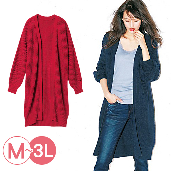 日本代購-RyuRyu mall粗針織長版開襟毛衣外套(共二色/3L) 日本代購,RyuRyu mall,針織