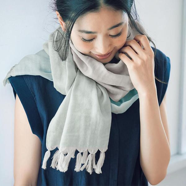 日本代購-輕盈柔軟透氣配色流蘇棉質圍巾(共三色) 東區時尚,圍巾