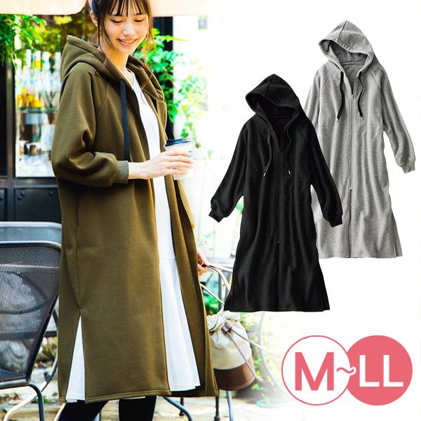 日本代購-連帽內拉絨長版拉鏈外套(共三色/M-LL) 日本代購,長版