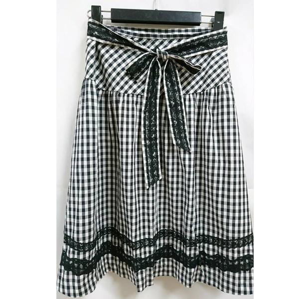 現貨-日本品牌蕾絲綴飾綁結格紋及膝裙 日本代購