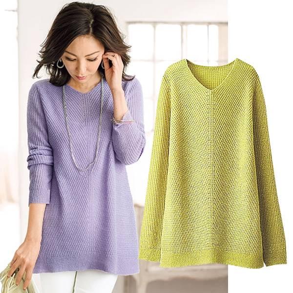 日本代購-portcros混金蔥V領米蘭羅斜紋針織衫(四色/3L-5L) 日本代購,portcros,針織衫