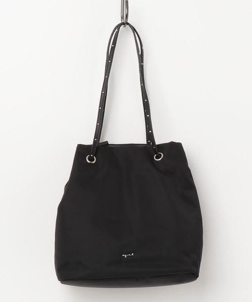日本代購-特價agnes b.防潑水尼龍金屬LOGO鉚釘2WAY水桶包(售價已折) agnes b.,東區時尚,水桶包