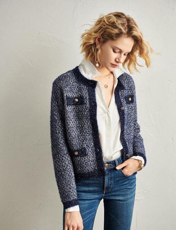 日本代購-法國Maje小香風亮絲針織外套(售價已折) agnes b.,東區時尚,Maje