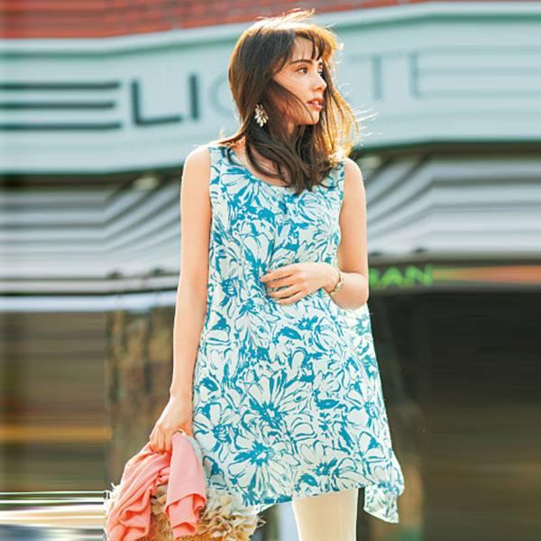 日本現貨-cecile A字形印花長版無袖上衣(藍色系花朵/LL) 日本代購,cecile,無袖